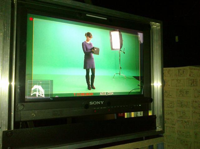 Und was zeigt der Green Screen? Magische Kulissen oder Charlies Bistro?